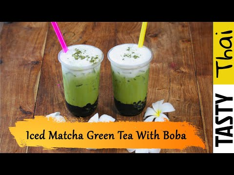 Thai Matcha Green Tea Latte with Brown Sugar Boba Bubble Recipe