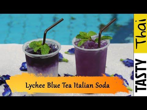 Lychee & Blue Tea Italian Soda Mocktail