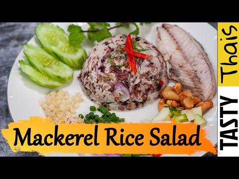 Easy Thai Rice Salad / Mackerel Salad Recipe - Khao Yum Pla Tu