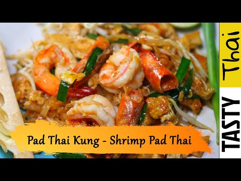 Authentic Shrimp Pad Thai - Thai Street Food Noodles with Shrimp