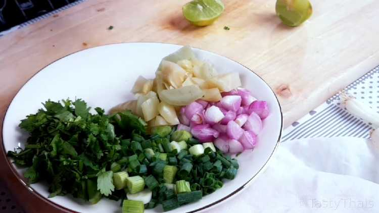 Chopped Ingredients to Serve Alongside Chicken Noodle Curry