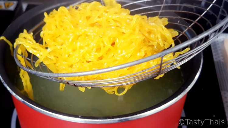 Boiling the soft Egg Noodles