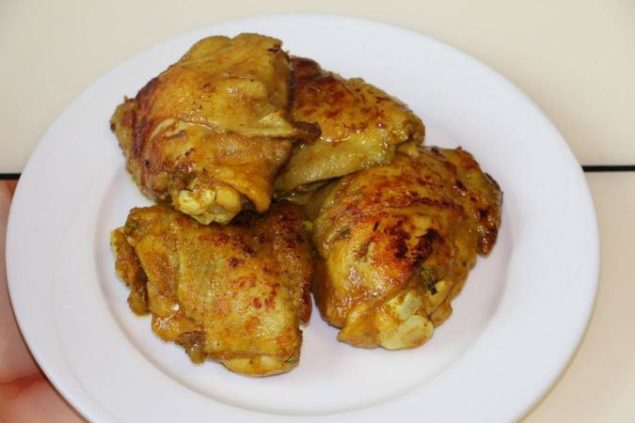 Image of part cooked & Broned Chickemn