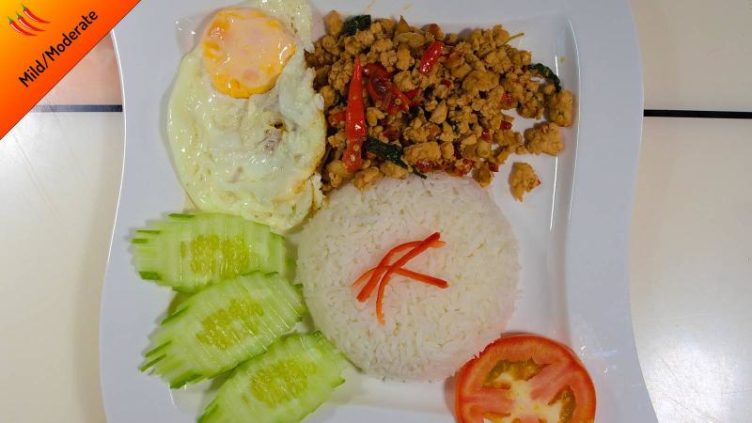 Photo of pad grapao gai with fried egg