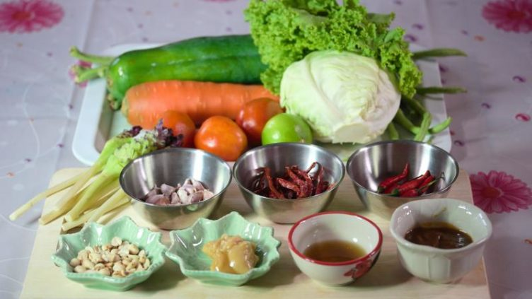 Photo of ingredients used for Som Tum Thai