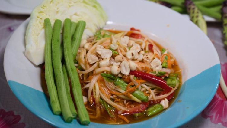 Photo of Som Tam Thai Recipe served with long green beans