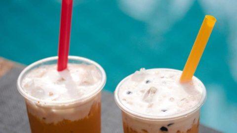 Photo of Thai Milk Tea & Boba Iced Tea by the poolside