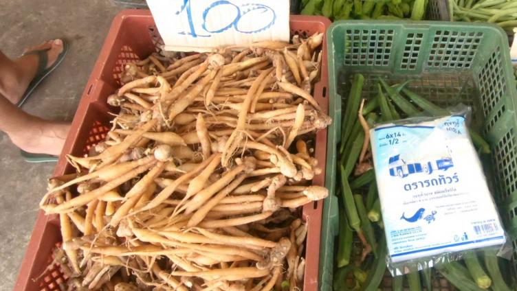 photo of finger ginger at the local Thai market which is used in this recipe