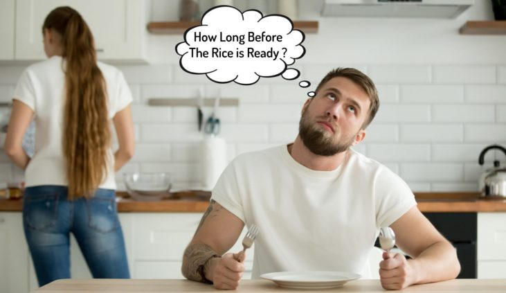 Photo of a guy waiting for his sticky rice to be cooked