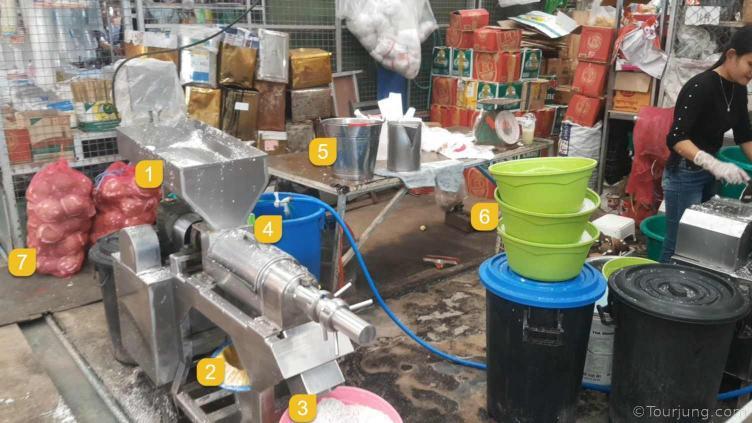 photo of a coconut milk making machine at a local Thai market