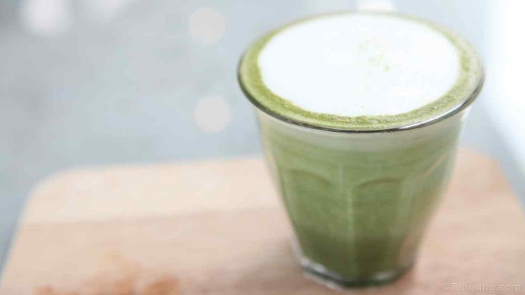 photo of frothed milk used to top off a Matcha Green Tea drink