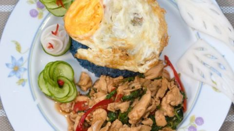 Photo of Spicy Thai Basil Chicken with Fired Egg
