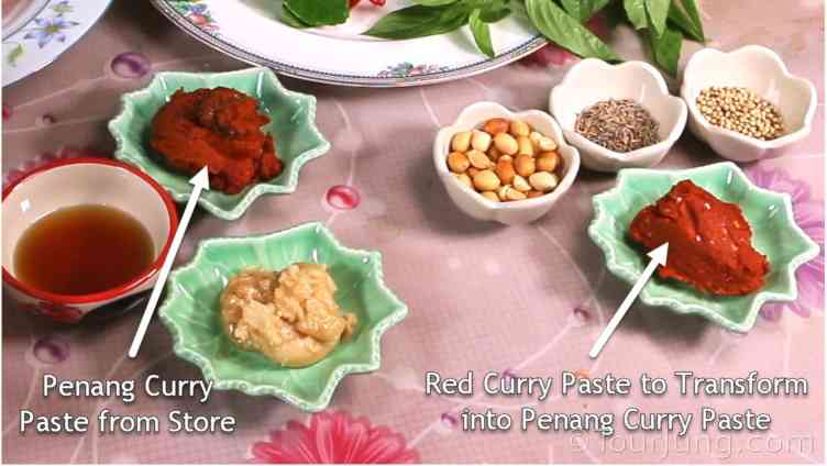photo showing ingredients needed to change Red Curry Paste into Panange Curry Paste