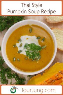 photo of a bowl of Thai style pumpkin soup.