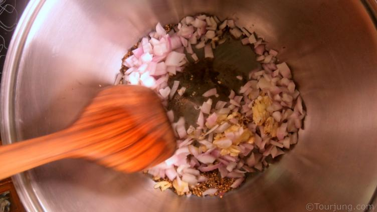 photo of caramelising the onions