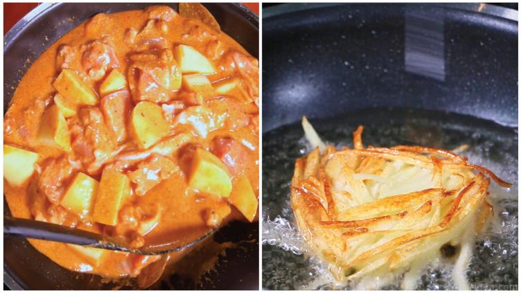 Photo of the Thai massaman curry cooking and frying the Potato Nest