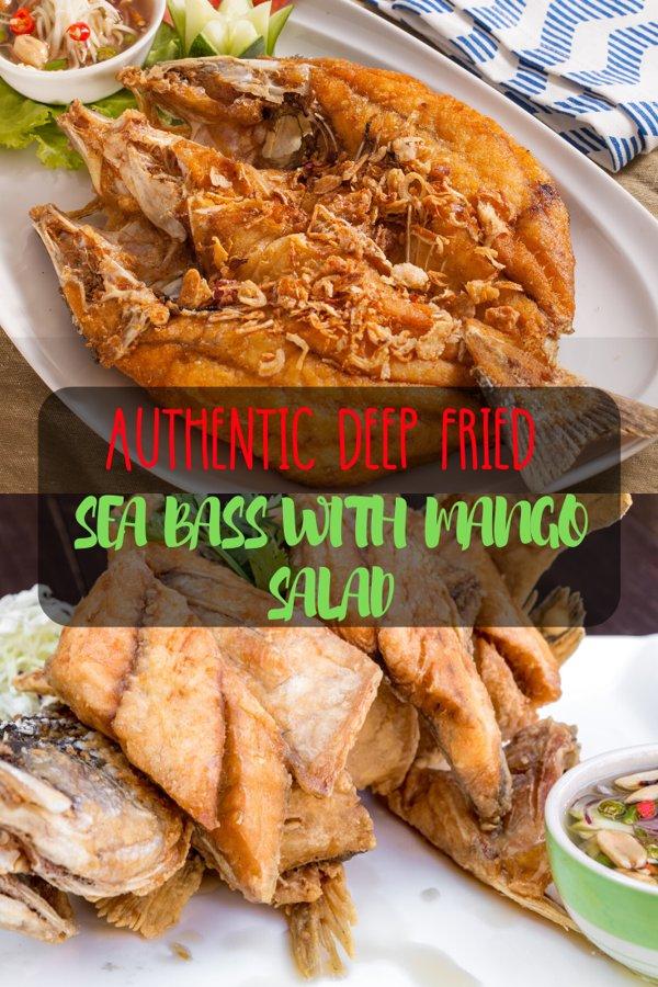 Fried sea bass with Mango Salad
