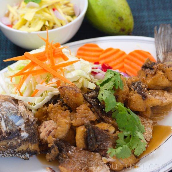Deep Fried Sea Bass with Mango Salad - Pla Krapong Tod Nam Pla