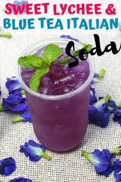 Lychee & Blue Tea Italian Soda Mocktail Recipe