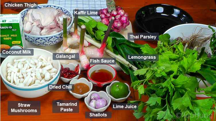 Photo of all the fresh ingredients for Thai coconut chicken soup