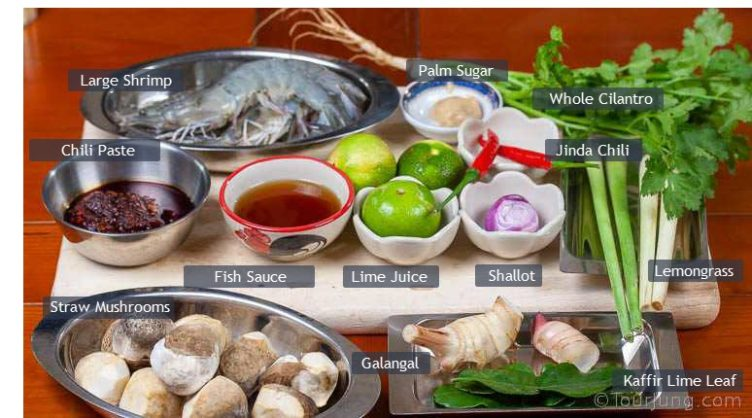 Photo of ingredients needed to make Thai Tom Yum Kung Soup Recipe