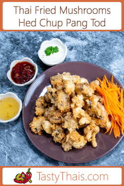 photo of deep fried mushrooms with Thai sweet chili sauce