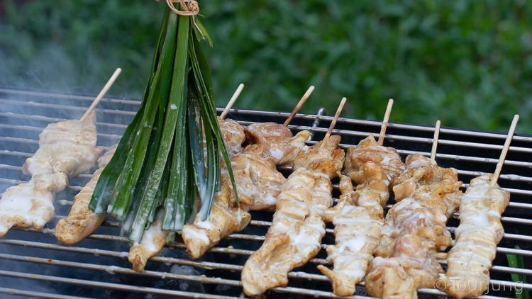 photo of basting chicken skewers on the BBQ