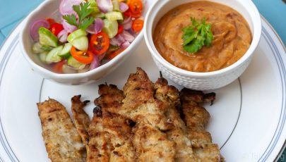 Chicken Satay Peanut Sauce Thai Sweet Pickles
