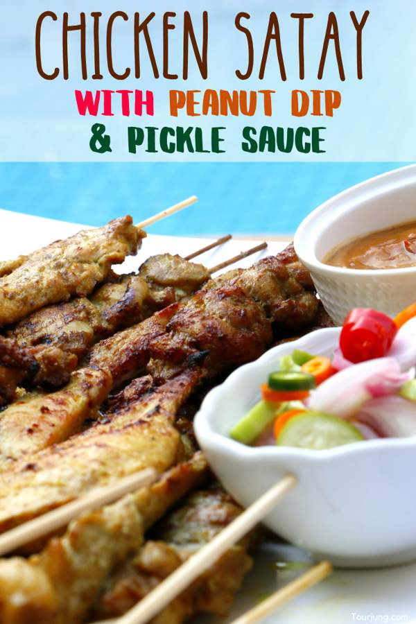 Chicken Satay with Peanut Dip & Pickles Sauce