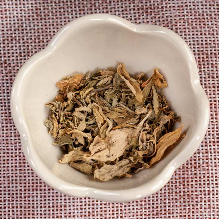 Dried stevia leaves used to sweeten cold brew tea
