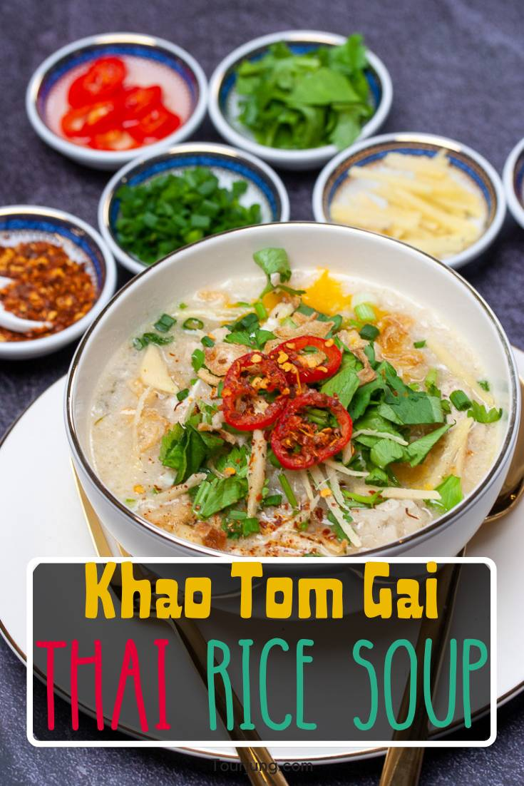 photo of chicken congee or khao tom gai with condiments