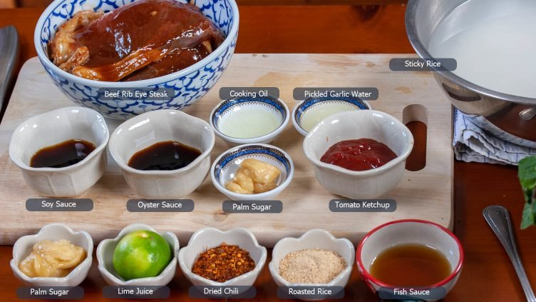 Photo of all the ingredients except the herbs that are needed to prepare the Nam Tok Nua recipe