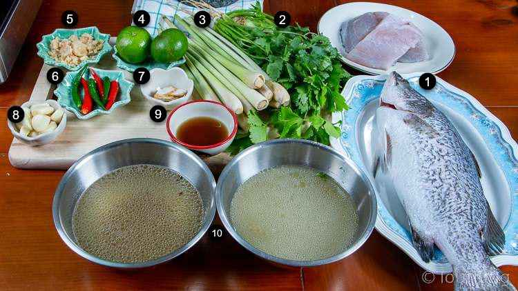 photo of ingredients for thai steamed fish with lime