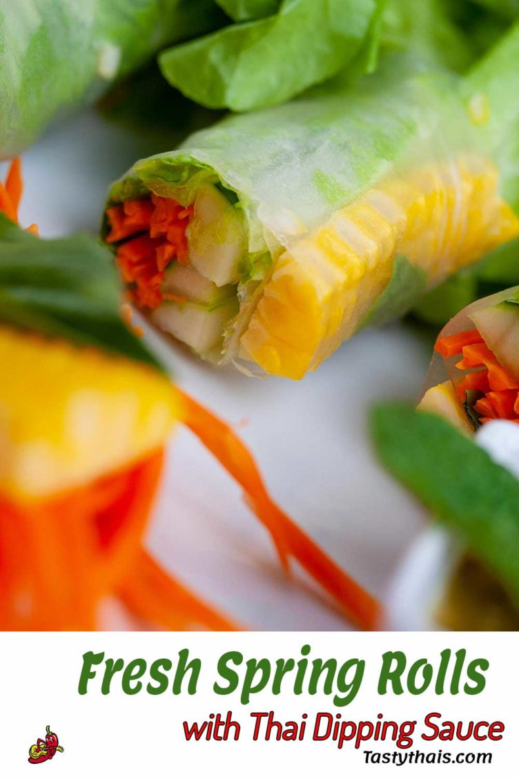 These fresh vegetable spring rolls paired with a tangy piquant Thai dipping sauce really work well together