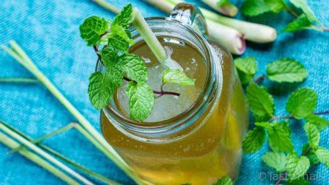 pinterest image for Thai lemongrass iced tea