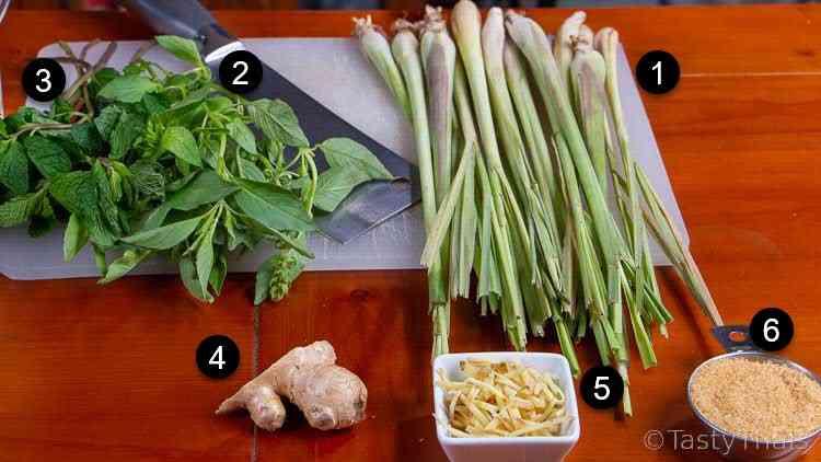photo of ingredients for Thai lemongrass cooler