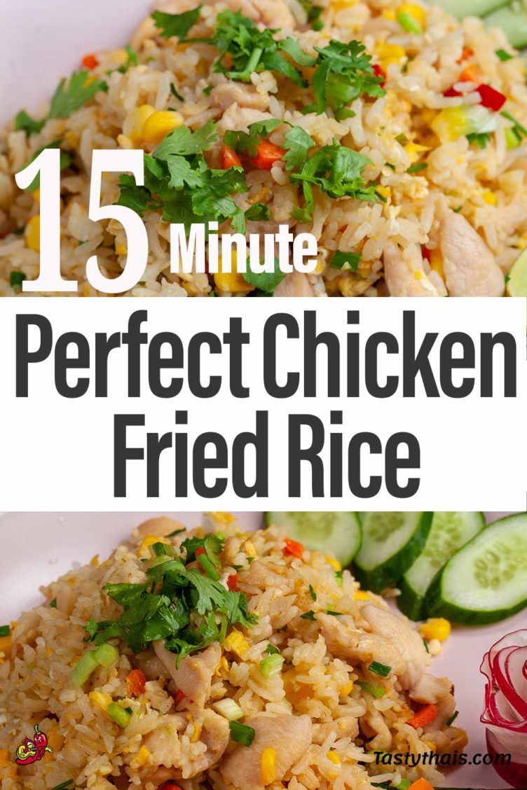 image depicting 15 minute recipe for chicken fried rice