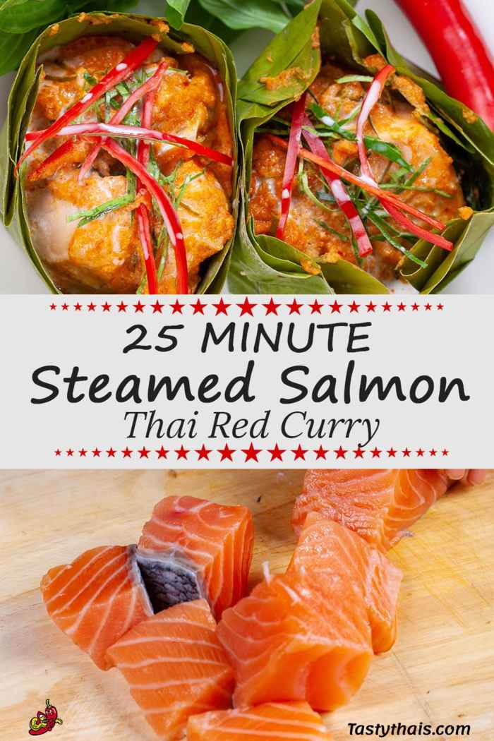 Fresh salmon being cut and the finished dish of Hor Mok Pla Salmon or Salmon Red Curry