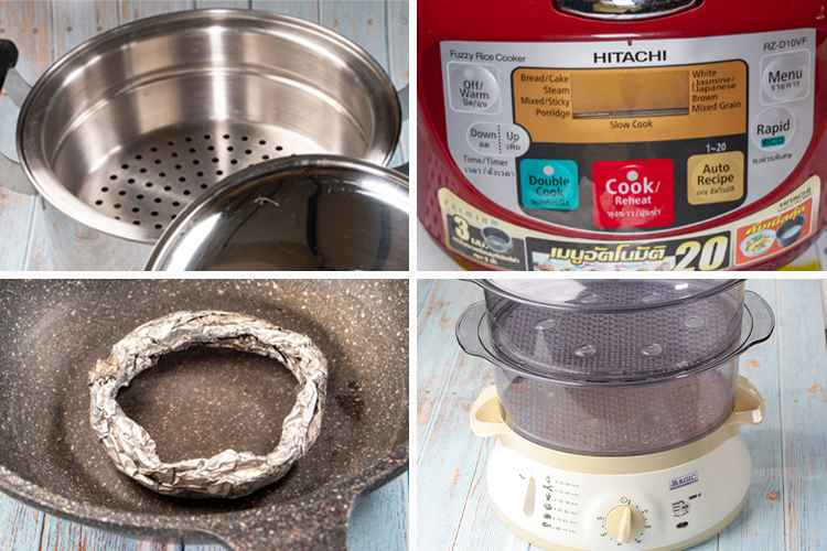 photo of three different types of cooking equipment needed for perfect steamed rice cooking