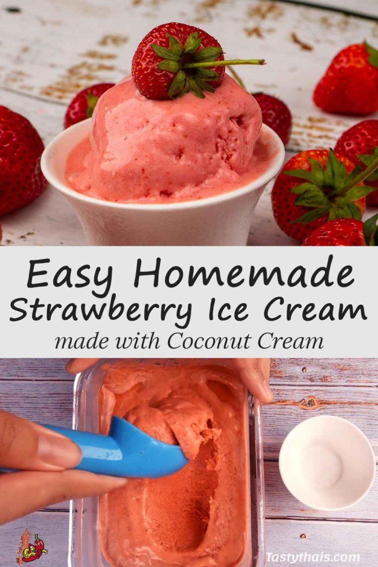photo of delicious homemade strawberry ice cream