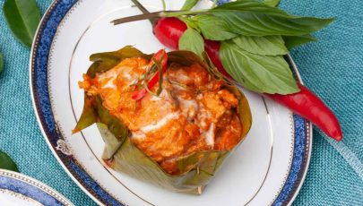 photo of authentic Hor Mok Pla Salmon Thai Red Curry