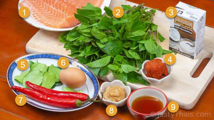Ingredients needed for Thai Red Curry with Coconut Cream Red Salmon Curry