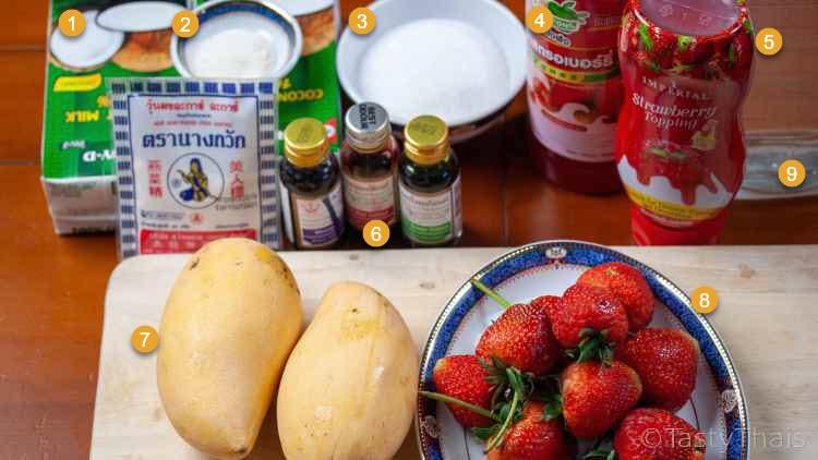 photo of ingredients needed to make strawberry jello