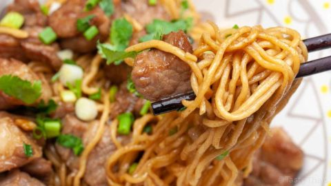beautiful photo of stir fried pork with egg noodles dish served and close up