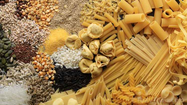 photo of rice and pasta which ar a good source of carbohydrate for your diet that can be stored long term