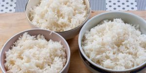 photo of perfect cooked steamed rice for each method the same