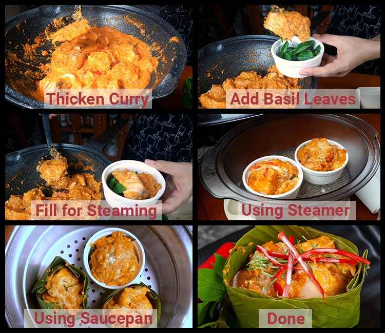 Photo of steps showing how to make Thai salmon red curry recipe