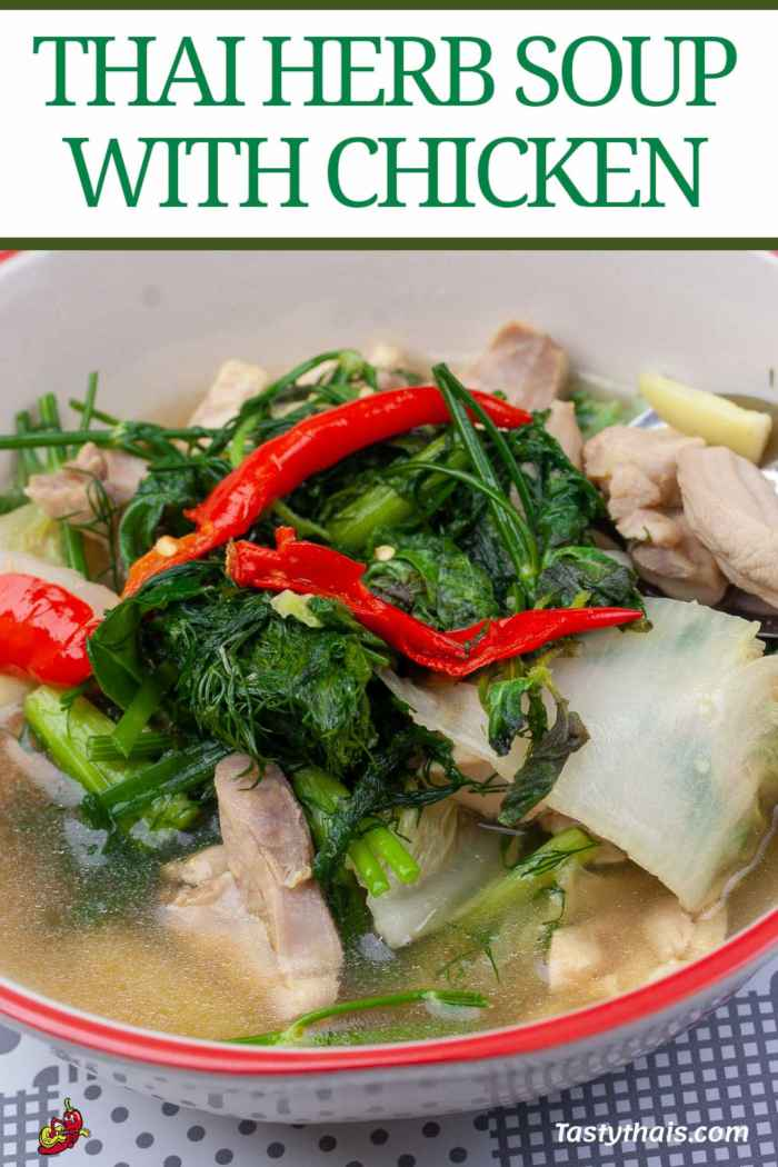 Thai herb soup with chicken and dill from northeast Thailand