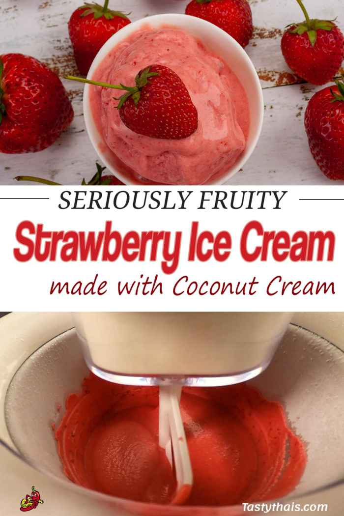 photo of pin of seriously fruity strawberry ice cream homemade with coconut cream