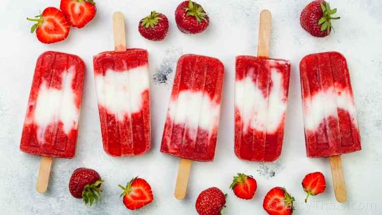 photo of strawberry and coconut vegan ice cream